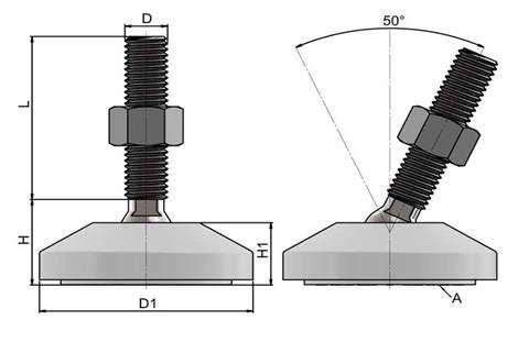 Levelling Feet (Inch) - 316 Stainless Steel (A4) 60mm White Plastic Base (WDS 978)