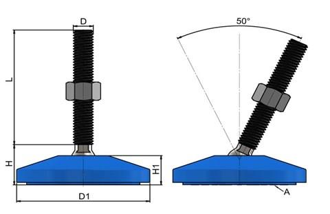 Levelling Feet (Inch) - 316 Stainless Steel (A4) with Plastic 80mm Blue Base (WDS 978)