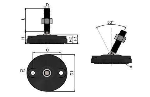 Levelling Feet (Inch) - 316 Stainless Steel (A4) with 80mm Black Plastic Bolt Down Base (WDS 978)
